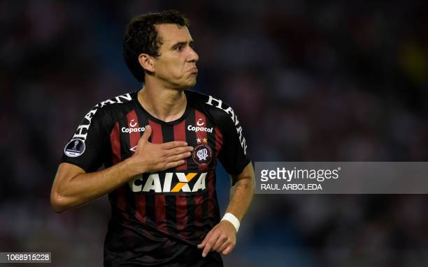 Brazil's Atletico Paranaense player Pablo celebrates after scoring against Colombia's Atletico Junior during their Copa Sudamericana first leg final...