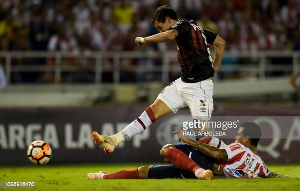 Brazil's Atletico Paranaense player Pablo shoots to score against Colombia's Atletico Junior during their Copa Sudamericana first leg final football...