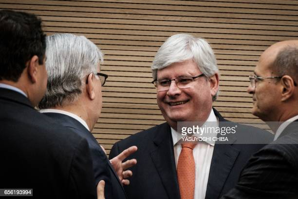 Brazil's Attorney General Rodrigo Janot attends a refund agreement ceremony at the Second Region Federal Court in Rio de Janeiro Brazil on March 21...