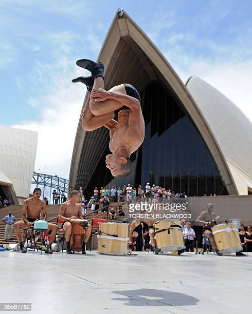 Brazil's 'Bale de Rua' make their Australian debut by performing as part of the Sydney Festival in front of the Sydney Opera House on January 6,...