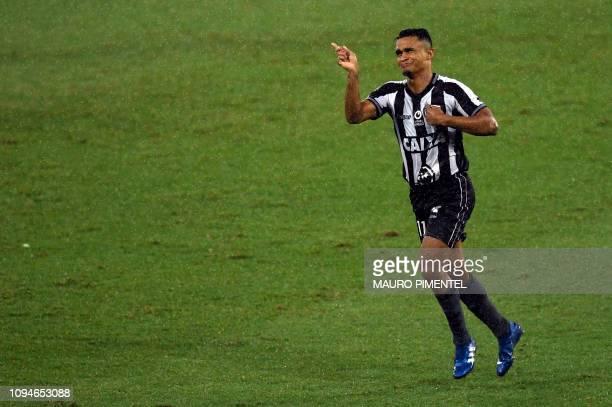 Brazil's Botafogo Erik celebrates after scoring against Argentina's Defensa y Justicia during their Copa Sudamericana football match at Nilton Santos...