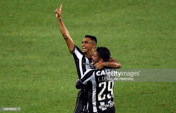 Brazil's Botafogo Erik celebrates with teammates after scoring against Argentina's Defensa y Justicia during their Copa Sudamericana football match...
