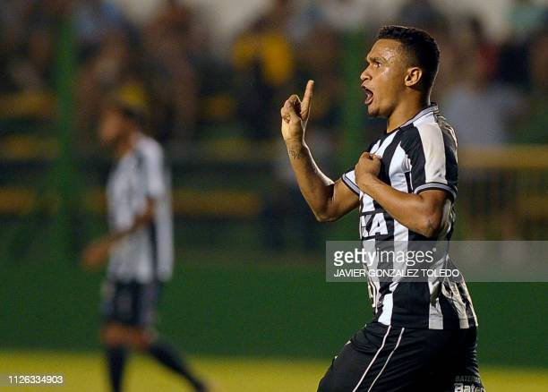 Brazil's Botafogo forward Erik Lima celebrates after scoring during a Copa Sudamericana first round second leg football match against Argentina's...