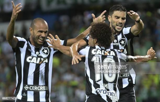 Brazil's Botafogo player Fernando Camilo celebrates after scoring against Colombia's Atletico Nacional during their 2017 Copa Libertadores football...