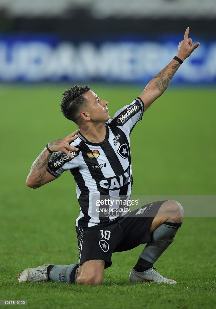 8156e2ca064b0 Brazil's Botafogo player Leo Valencia celebrates after scoring ...