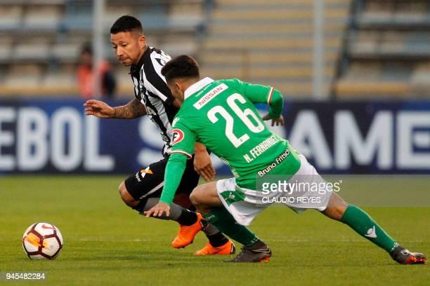 Brazil's Botafogo player Leonardo Valencia vies for the ball with Chile's Audax Italiano player Nicolas Fernandez during their Copa Sudamericana...
