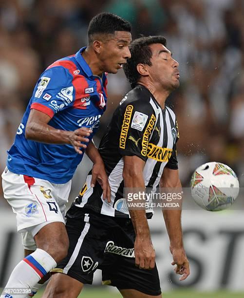 Brazil's Botafogo's Ferreyra vies for the ball with Ecuador's Deportivo Quito's Luis Romero during their 2014 Copa Libertadores football match at...