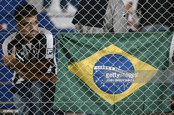 Brazil's Botafogo's supporter looks at the Copa Libertadores 2014 group 2 football match against Argentina's San Lorenzo at Pedro Bidegain stadium in...