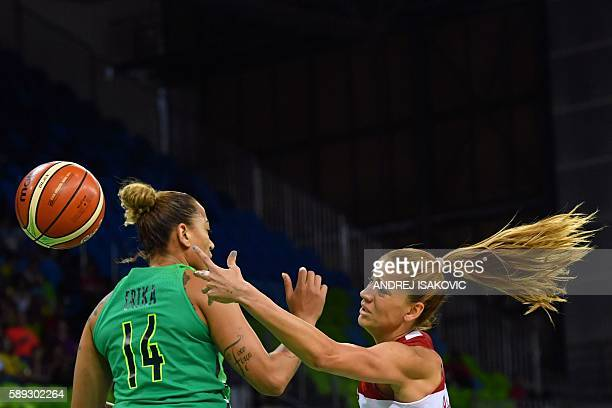 Brazil's centre Erika Souza and Turkey's power forward Bahar Caglar go for the ball during a Women's round Group A basketball match between Turkey...