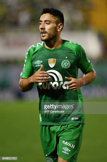 Brazil's Chapecoense player Alan Ruschel one of the survivors of the LaMia airplane crash in Colombia is seen during the 2017 Copa Sudamericana...