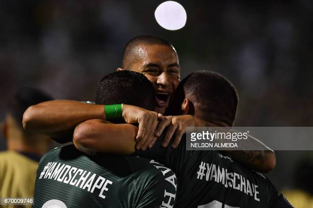 Brazil's Chapecoense players celebrate a goal scored by Reinaldo against Uruguay's Nacional during their 2017 Copa Libertadores football match held...