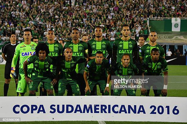 Brazil's Chapecoense players pose for pictures during their 2016 Copa Sudamericana semifinal second leg football match against Argentina's San...