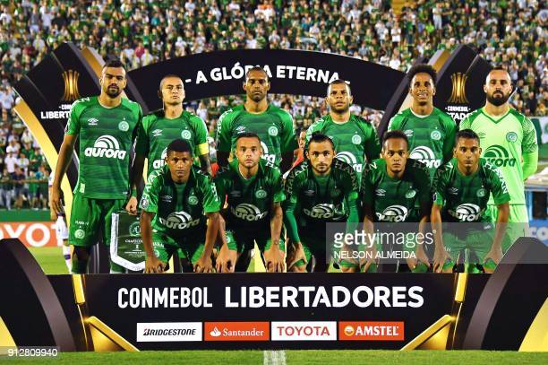 Brazil's Chapecoense team pose for pictures during their Copa Libertadores 2018 football match against Uruguay's Nacional at Arena Conda stadium in...