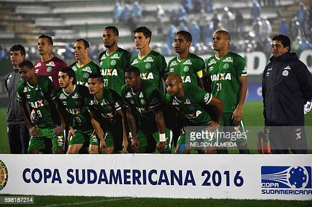 Brazil's Chapecoense team poses for pictures before the 2016 Copa Sudamericana football match against Brazil's Cuiaba at Arena Conda stadium in...
