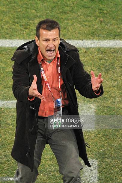 Brazil's coach Dunga reacts during Group G first round 2010 World Cup football match Brazil vs Ivory Coast on June 20, 2010 at Soccer City stadium in...