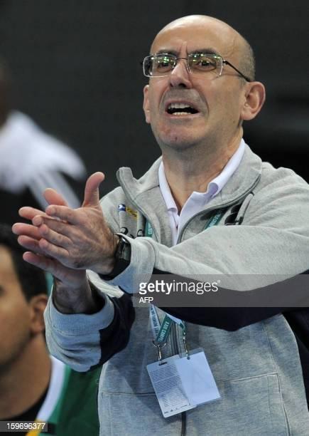 Brazil's coach Jordi Ribera gestures during the 23rd Men's Handball World Championships preliminary round Group A match Montenegro vs Brazil at the...