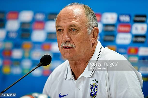 Brazil's coach Luiz Felipe Scolari speaks at a press conference at Minerao Stadium on June 27 2014 in Belo Horizonte Brazil