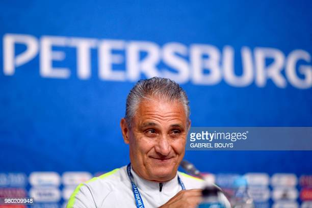 Brazil's coach Tite attends a press conference at the Saint Petersburg stadium in Saint Petersburg on June 21 on the eve of their Russia 2018 World...