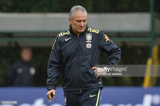 Brazil's coach Tite conducts a training session of the national football team at the Atletico Mineiro Training Centre in Vespasiano Minas Gerais...
