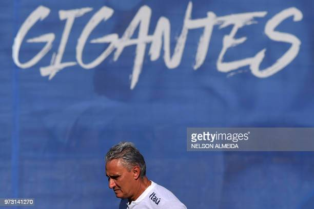 Brazil's coach Tite takes part in a training session of the Brazilian national football team at the Yug Sports stadium in Sochi on June 13 2018 ahead...