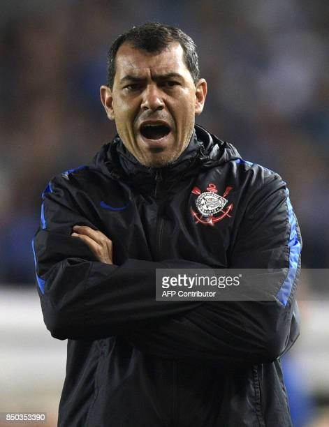 Brazil's Corinthians coach Fabio Carille gestures during their Copa Sudamericana round before the quarterfinals second leg football match against...
