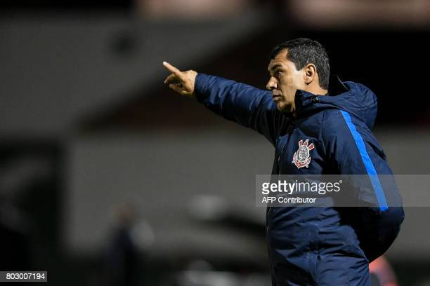 Brazil's Corinthians coach Fabio Carille gives instructions to his players during their Copa Sudamericana football match against Colombia's Patriotas...