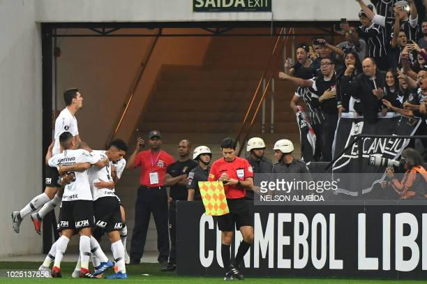 Brazil's Corinthians players celebrate a goal against Chile's ColoColo during their 2018 Copa Libertadores football match at Arena Corinthians...
