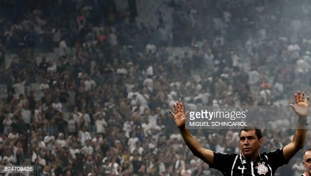 Brazil's Corinthians team coach Fabio Carille celebrates after winning their 2017 Brazilian championship football match against Brazil's Fluminense...