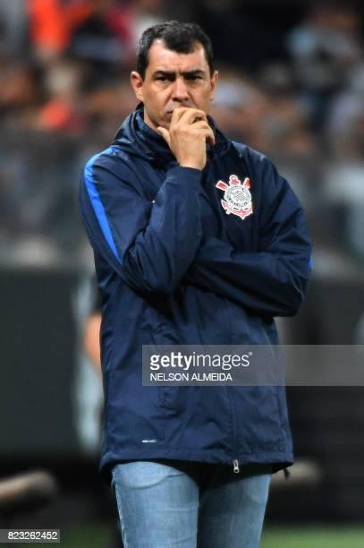 Brazils Corinthians team coach Fabio Carille gestures during their 2017 Copa Sudamericana football match against Colombia's Patriotas held at Arena...