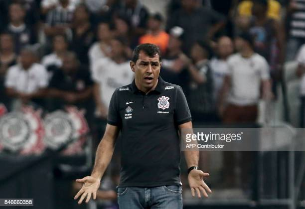 Brazil's Corinthians team coach Fabio Carille gestures during their 2017 Sudamericana Cup football match against Argentina's Racing Club at the Arena...