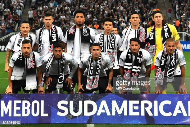 Brazils Corinthians team players pose before their 2017 Copa Sudamericana football match against Colombia's Patriotas held at Arena Corinthians...