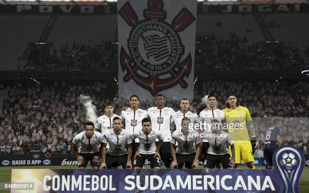 Brazil's Corinthians team poses before their 2017 Sudamericana Cup football match against Argentina's Racing Club at the Arena Corinthians Stadium in...
