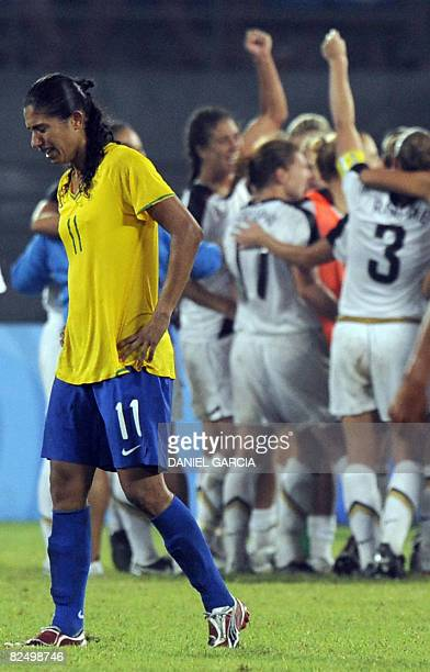 Brazil's Cristiane reacts after losing 01 to US in extra time in the women's football gold medal match in the 2008 Beijing Olympic Games in Beijing...