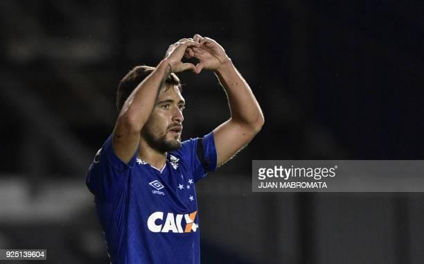 Brazil's Cruzeiro midfielder Giorgian De Arrascaeta celebrates after scoring a goal against Argentina's Racing Club during the Copa Libertadores 2018...