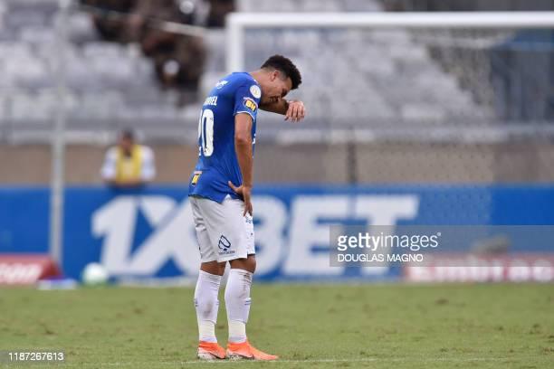 Brazil's Cruzeiro player Marquinhos Gabriel reacts during the Brazilian Championship football match against Palmeiras in Belo Horizonte Brazil on...