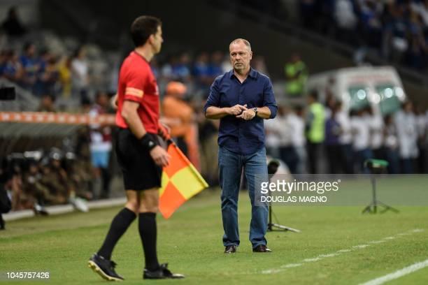 Brazil's Cruzeiro team coach Mano Menezes gestures during their 2018 Copa Libertadores football match against Argentina's Boca Juniors held at...