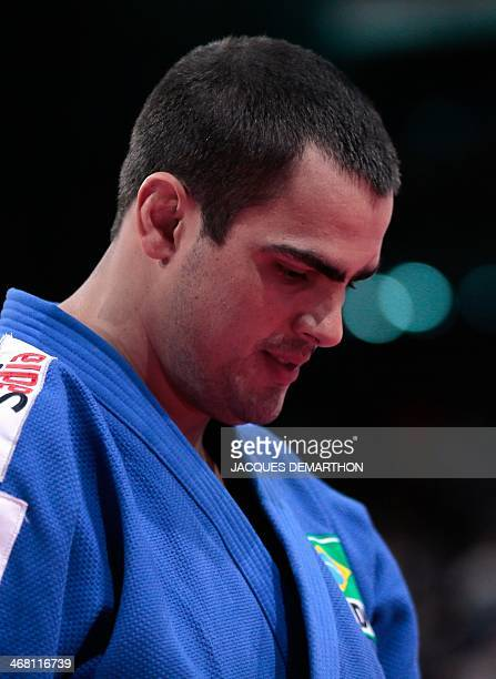 Brazil's David Moura reacts after being defeated by Japan's Shichinohe Ryu during the men's 100kg final at the 2014 Paris Judo Grand Slam tournament...