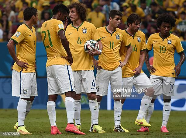 Brazil's defender David Luiz prepares for a free kick during the third place playoff football match between Brazil and Netherlands during the 2014...