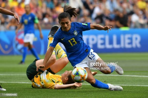 Brazil's defender Leticia Santos falls during the France 2019 Women's World Cup Group C football match between Australia and Brazil on June 13 at the...