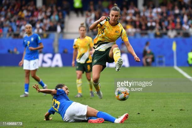 TOPSHOT Brazil's defender Leticia Santos tackles Australia's midfielder Chloe Logarzo during the France 2019 Women's World Cup Group C football match...