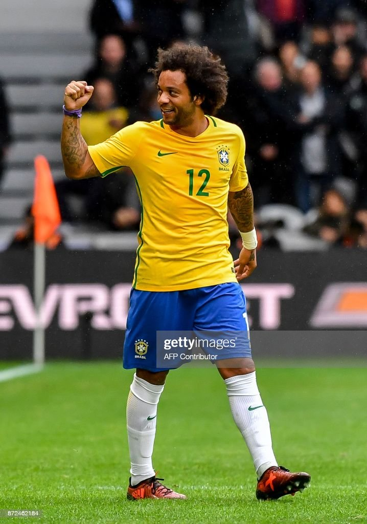 Brazil's defender Marcelo reacts after scoring a goal during the friendly football match between Brasil and Japan at the Pierre-Mauroy Stadium in Villeneuve d'Ascq, near Lille, northern France, on November 10, 2017. /