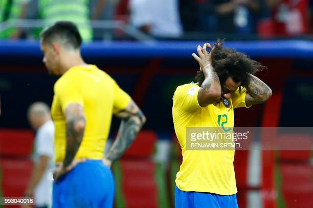 Brazil's defender Marcelo reacts to his team's defeat at the end of the Russia 2018 World Cup quarterfinal football match between Brazil and Belgium...
