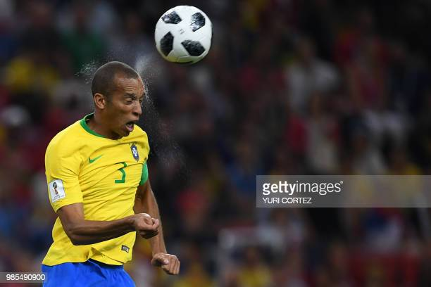 Brazil's defender Miranda heads the ball during the Russia 2018 World Cup Group E football match between Serbia and Brazil at the Spartak Stadium in...