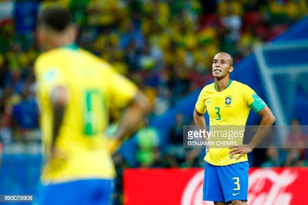 Brazil's defender Miranda looks on during the Russia 2018 World Cup quarterfinal football match between Brazil and Belgium at the Kazan Arena in...