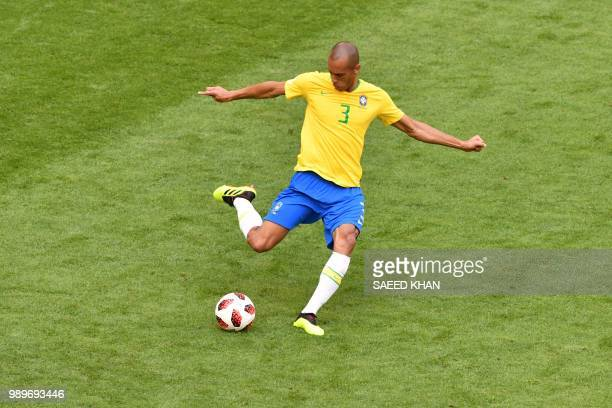 Brazil's defender Miranda passes the ball during the Russia 2018 World Cup round of 16 football match between Brazil and Mexico at the Samara Arena...