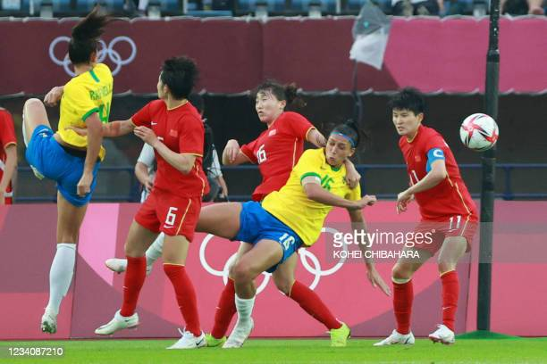 Brazil's defender Rafaelle attempts a shot during the Tokyo 2020 Olympic Games women's group F first round football match between China and Brazil at...