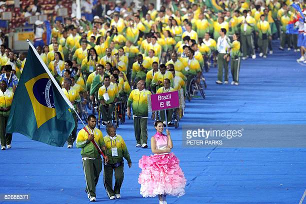 Brazil's delegation parades during the 2008 Beijing Paralympic Games opening ceremony at the National Stadium better known as the Bird's Nest in...
