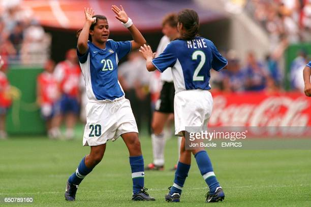 Brazil's Deva and Nene celebrate their last minute equaliser