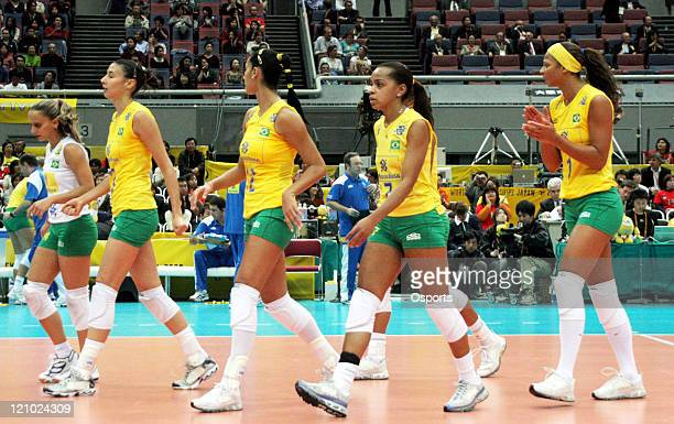 Brazil's disappointed players after Russia won their sixth world championship with a 32 victory over Brazil in the final at the FIVB Women's...