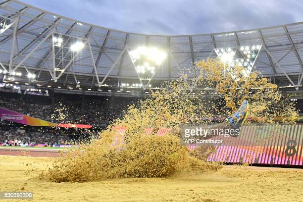 Brazil's Eliane Martins competes in the final of the women's long jump athletics event at the 2017 IAAF World Championships at the London Stadium in...
